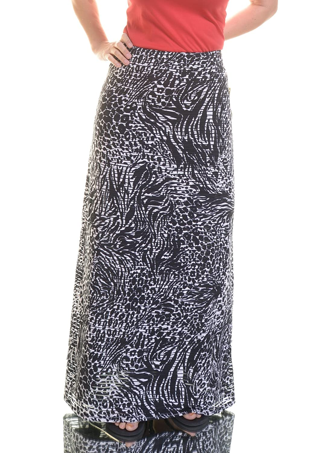 Eci New York Womens Textured Printed Maxi Skirt B W S Delicate Www