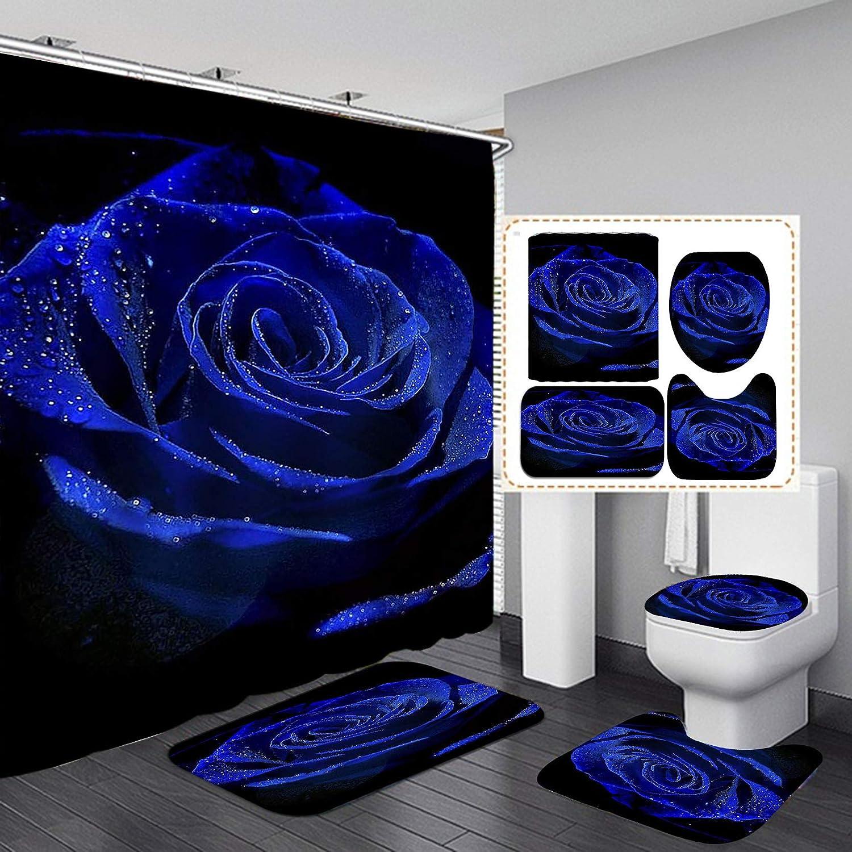 Camille&Andrew 4PCS/Set Dewy Royal Blue Rose Shower Curtain, Valentine's Day Gift Elegant Floral Romantic Flower Bathroom Decor, Fabric Bath Curtain, Non-Slip Bathroom Floor Mat Soft Toilet Rug, Blue
