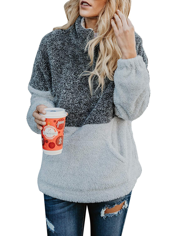 ACKKIA Womens Long Sleeve Fleece Zip Sweatshirt Color Block Pockets Sherpa Pullover AK-H5145TO