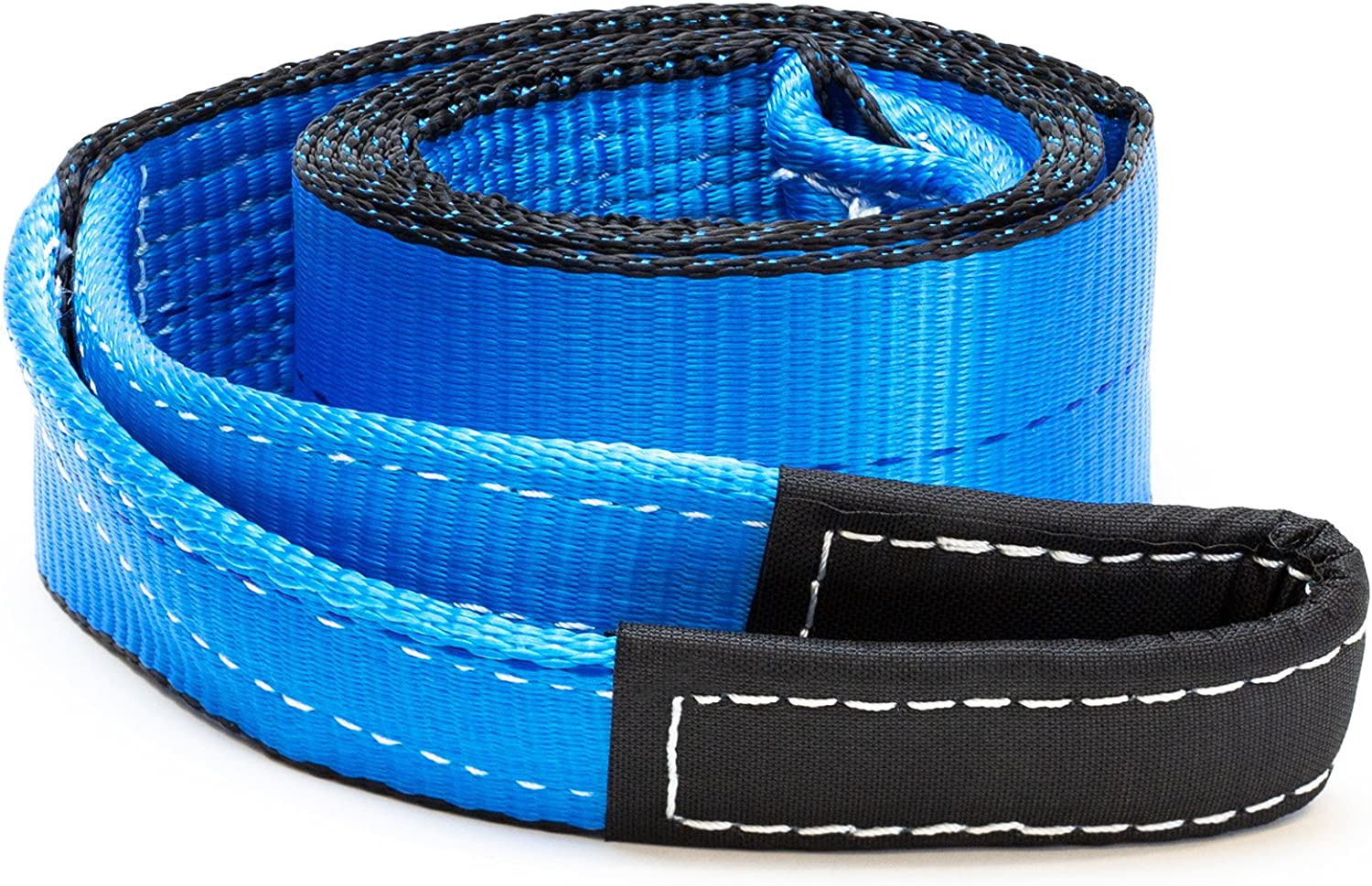 Blue Driver Recovery Products TS38-BLU 15 Ton Recovery Winch Tree Saver Pulling Capacity Extreme Heavy Duty Nylon 30,000 Pound Driver Recovery 3 x 8 Tow Strap