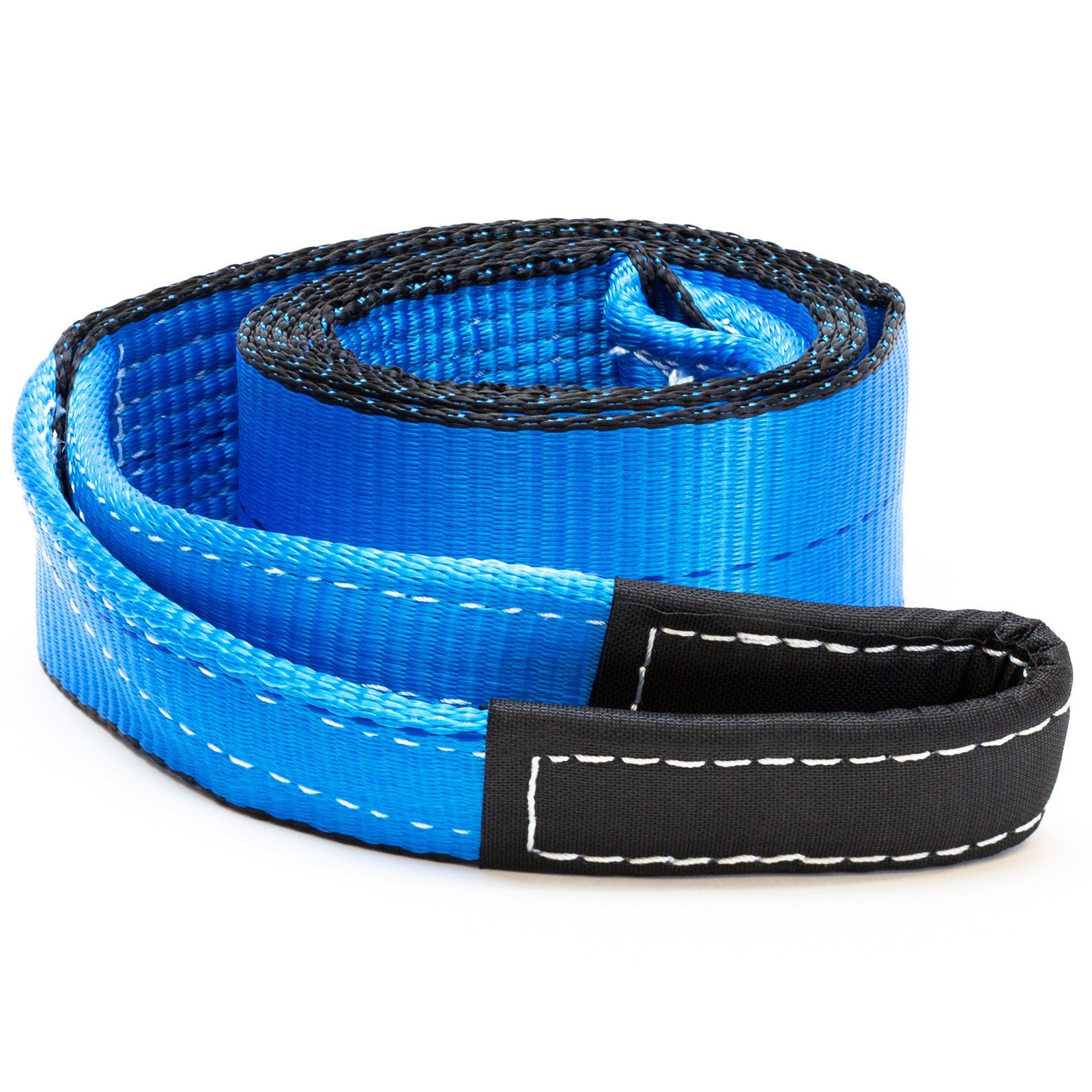 Driver Recovery 3'' x 8' Tow Strap - Recovery Winch Tree Saver - Extreme Heavy Duty Nylon 30,000 Pound (15 Ton) Pulling Capacity - Blue by Driver Recovery Products