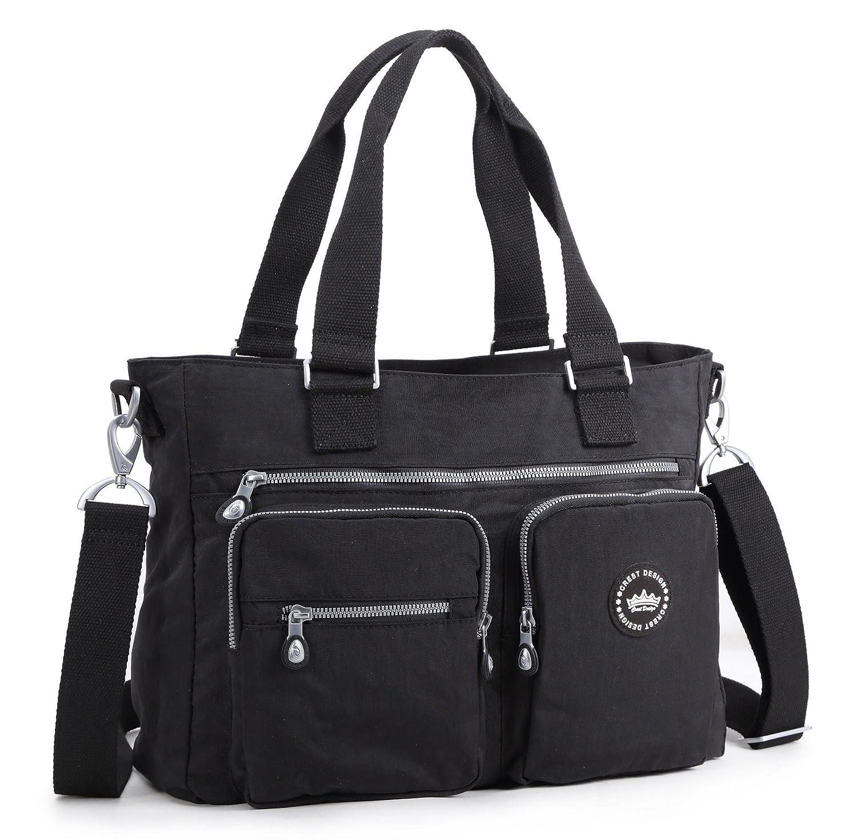 Crest Design Water Repellent Nylon Shoulder Bag Handbag, 14 inch Laptop Bag Notebook Briefcase Travel Work Tote Bag