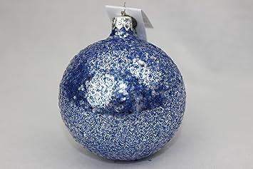 Glitzer Christbaumkugeln.12er Set Drescher Weihnachtskugeln ø 6cm Blau Glitzer Christbaumkugeln Mundgeblasen