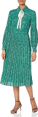 Dear Drew by Drew Barrymore Womens The Cubist Long Sleeve Tie Neck Pleated Dress Long-Sleeve Dress