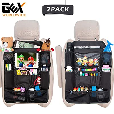 GEX Car Backseat Organizers Back Seat Non-Deformation Protectors Touch Screen Tablet Holder+12 Storage Pockets for Kids' Toy Bottle Drink Organization Travel Accessories(2 Pack): Automotive