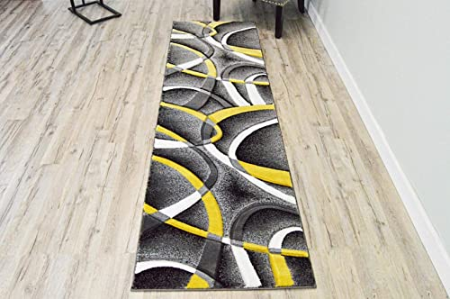 Planet Rugs Premium 3D Effect Hand Carved Thick Modern Contemporary Abstract Area Rug 2305 Yellow Gray 2 2 x7 4