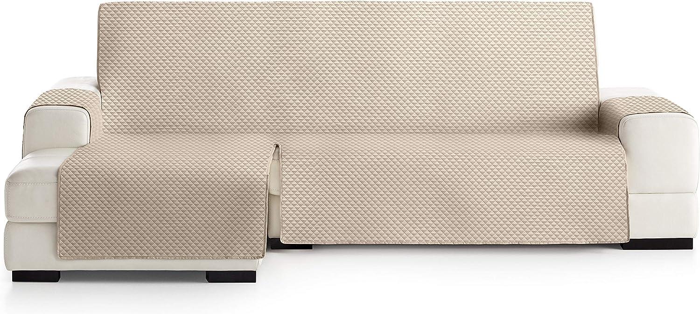 JM Textil Funda Cubre Sofá Chaise Longue Elena, Protector para Sofás Acolchado Brazo Izquierdo. Tamaño -275cm. Color Marfil 01 (Visto DE Frente)