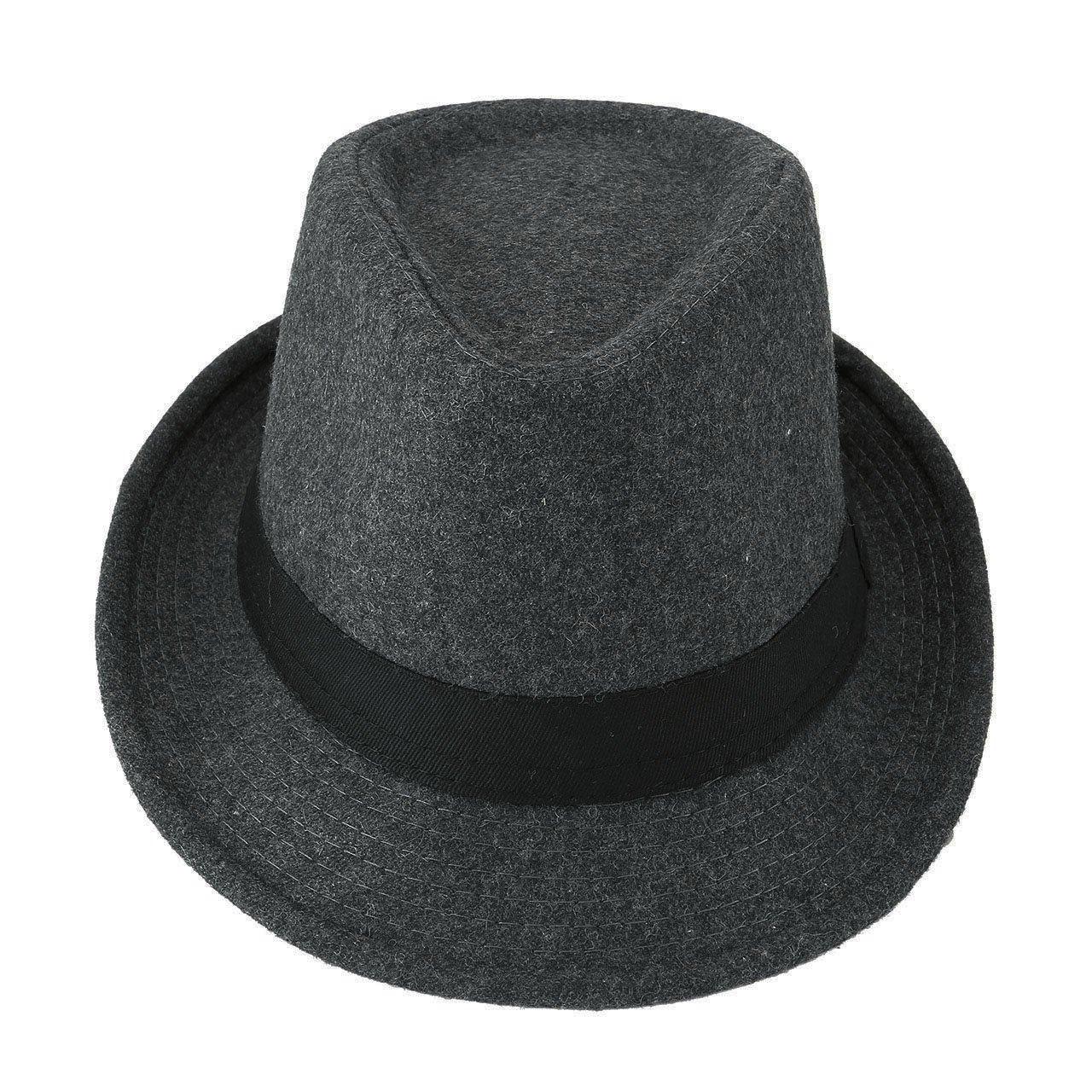 Unisex Classic Manhattan Fedora Hat Black Band Fashion Casual Jazz Wool Cap (Grey) by Faleto (Image #2)