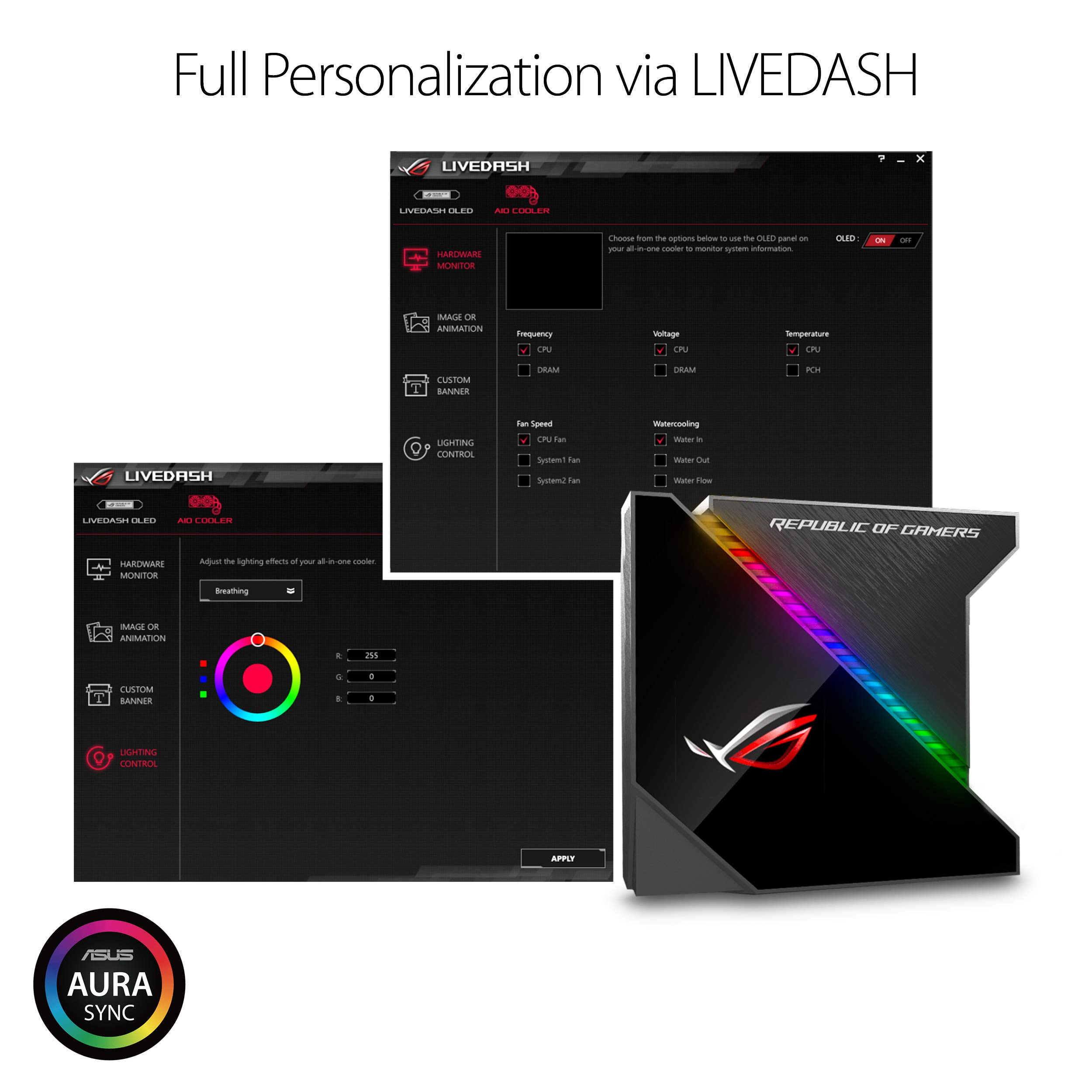 ASUS ROG Ryujin 240 RGB AIO Liquid CPU Cooler 240mm Radiator (Dual 120mm 4-pin Noctua iPPC PWM Fans) with LIVEDASH OLED Panel and FanXpert Controls by Asus (Image #4)