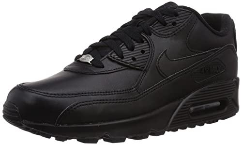 low priced 27236 36684 NIKE Air Max 90 Leather Mens Running Shoes Air Max 90 Leather Black Black  6.5