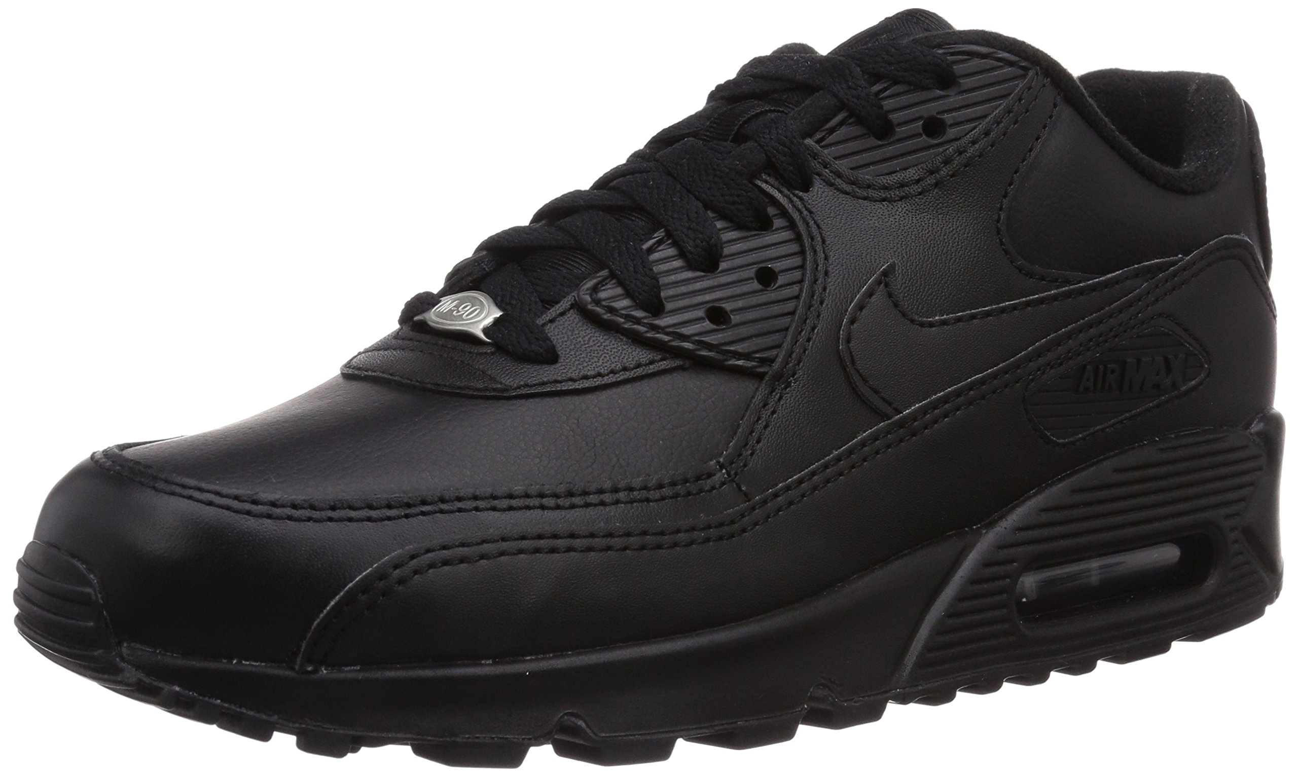 a4af03147d64 Galleon - Nike Mens Air Max 90 Leather Running Shoes Black Black 302519-001  Size 12.5