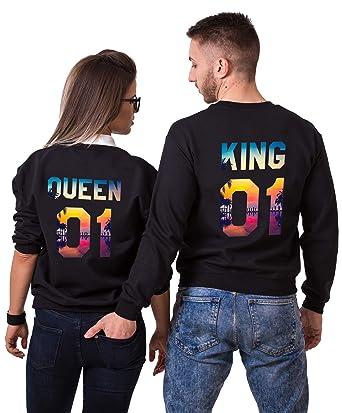 a85d225e3 Tom's Couples Shop Pärchen Hoodie Set King Queen Pullover für Zwei  Kapuzenpullover für Paare Paar Valentinstag