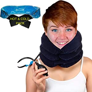 BodyMoves 2019 Cervical Neck Traction with hot and Cold Gel Pack # Home Relaxation Inflatable air Therapy for Shoulder and Neck Pain(Blue)