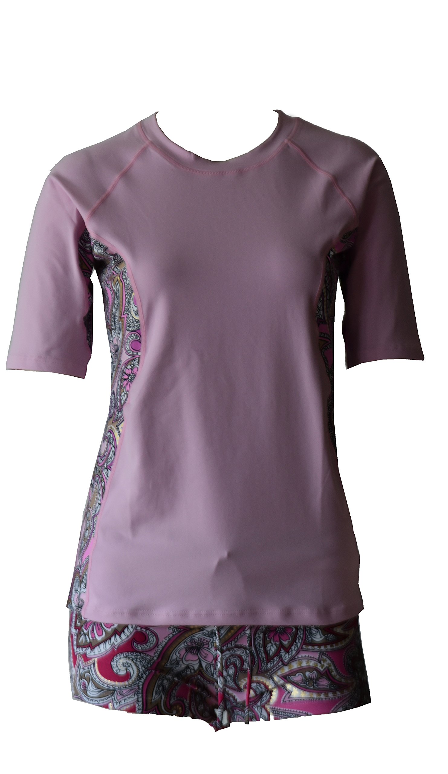Private Island Hawaii Women UV Wetsuits Short Sleeve Rash Guard Top Pink With Pink Gold Spot XX-Large