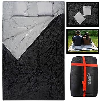 Takit SB2 - Saco De Dormir Doble Para Dos Personas - 220x150cm - Con Dos Almohadas