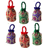 Style and Culture Women's Combo of 6 Ethnic Brocade and Silk Embroidered Potli bag, handbag, wrist bag, pouches (Multicolor)