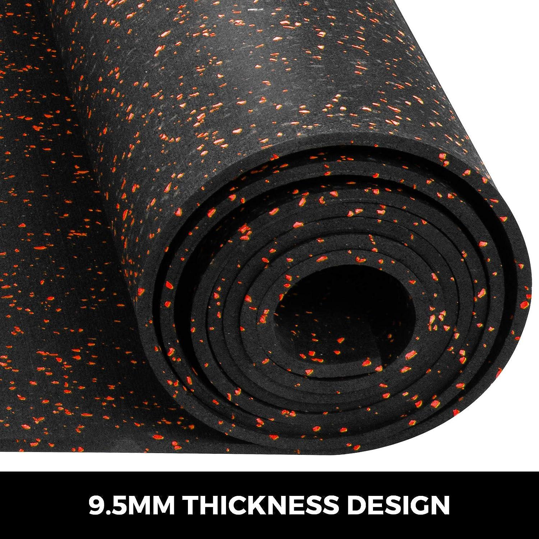 Husuper Suelo para Gimnasio PVC Equipo Alfombrilla de Suelo 9.5mm Pavimento de Caucho Rollo Goma Antideslizante Alfombra Caucho Suelo de Gimnasio 4 x 15FT Color Rojo