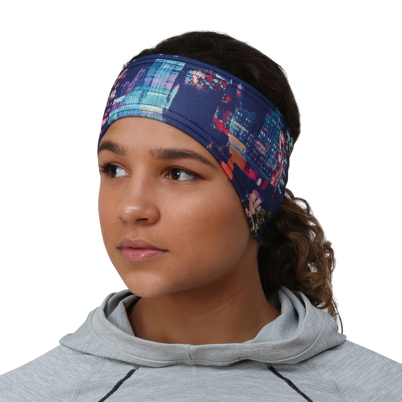 TrailHeads Women's Print Ponytail Headband – 12 Prints - Made in USA - Cityscape