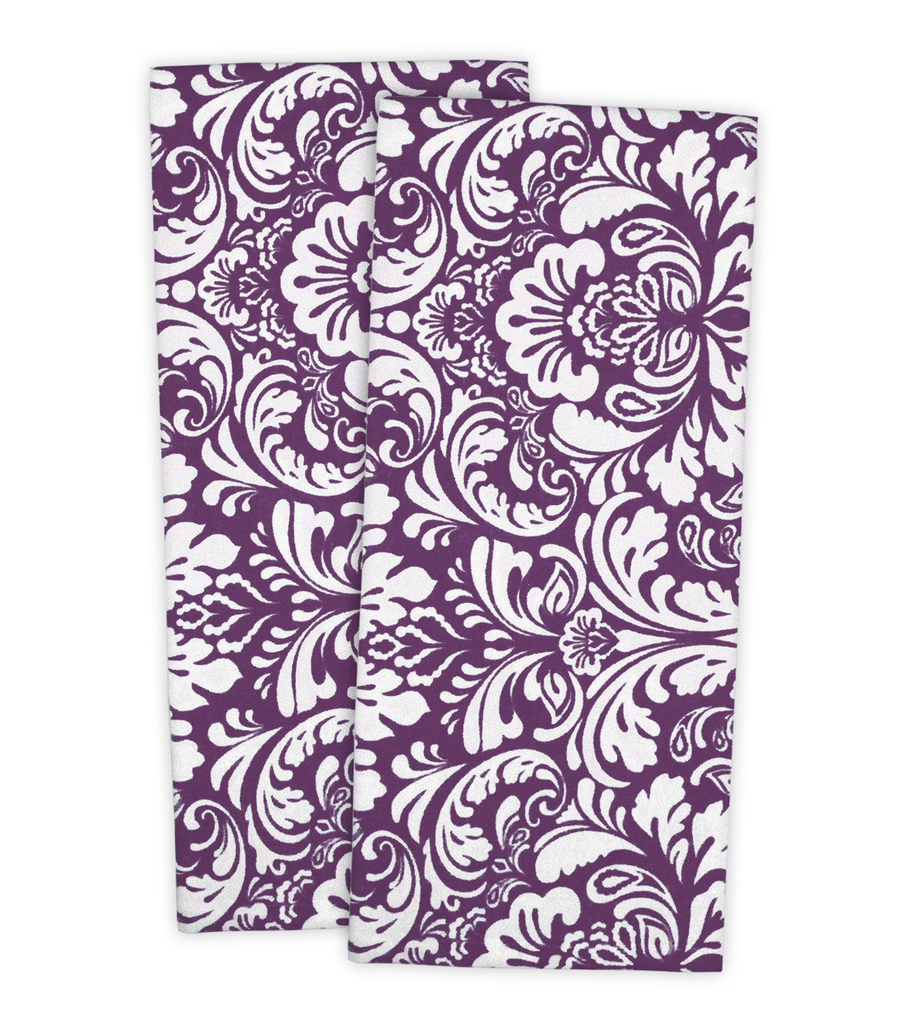 """DII Cotton Damask Kitchen Dish Towels, 28 x 18"""" Set of 2, Low Lint Decorative Tea Towel for Everyday Cooking and Baking-Eggplant"""