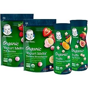 Gerber Up Age Snacks Variety Pack - Organic Yogurt Melts & Organic Puffs, 7Count