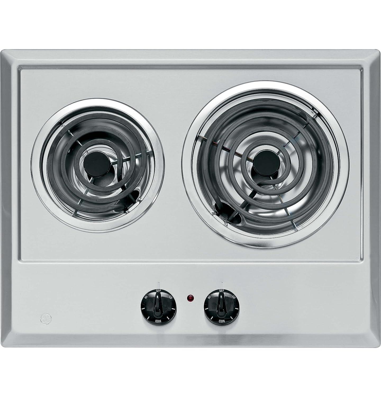 Ge JP201CBSS 21 inch Built-In Electric Cooktop, 2-Burner in Stainless Steel