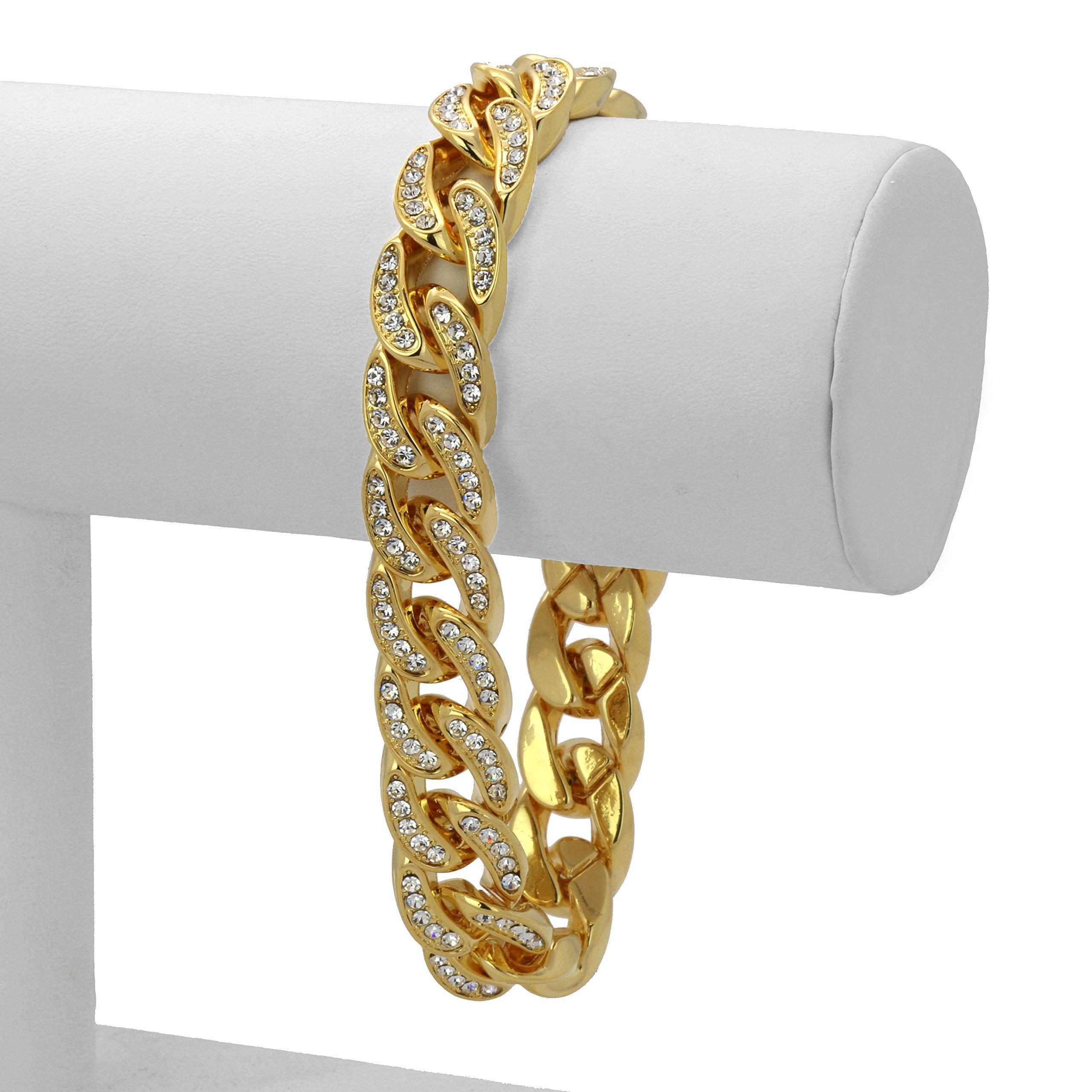 L & L Nation Gold Tone SS Cuban Link Iced Out Clear Cz Stones Hip Hop Bracelet 9'' Inch PLUS Cz Earrings SET