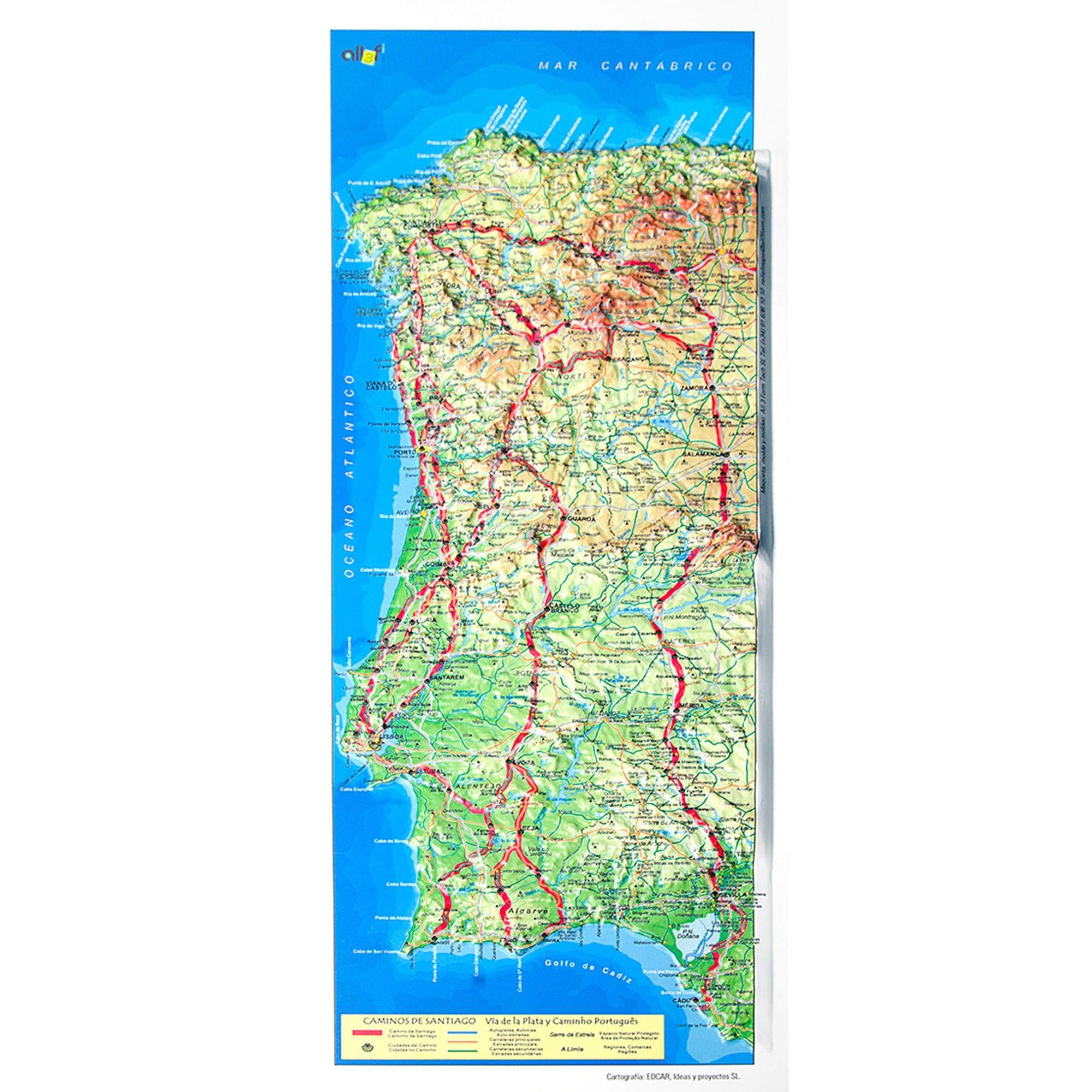 Mapa en relieve del Camino de Santiago Ruta de la Plata: Escala ...