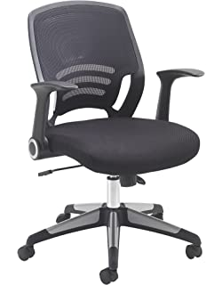 flash furniture mid back black mesh swivel task chair with leather