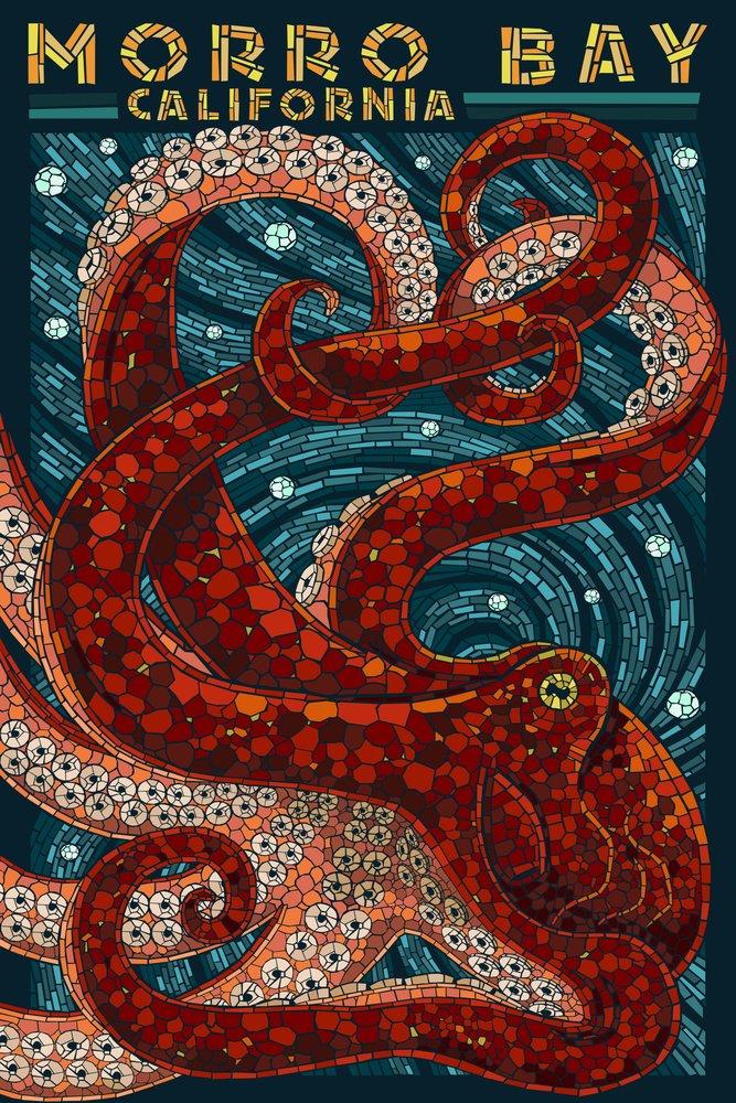 Morro Bay, California - Octopus Mosaic (12x18 Art Print, Wall Decor Travel Poster) by Lantern Press