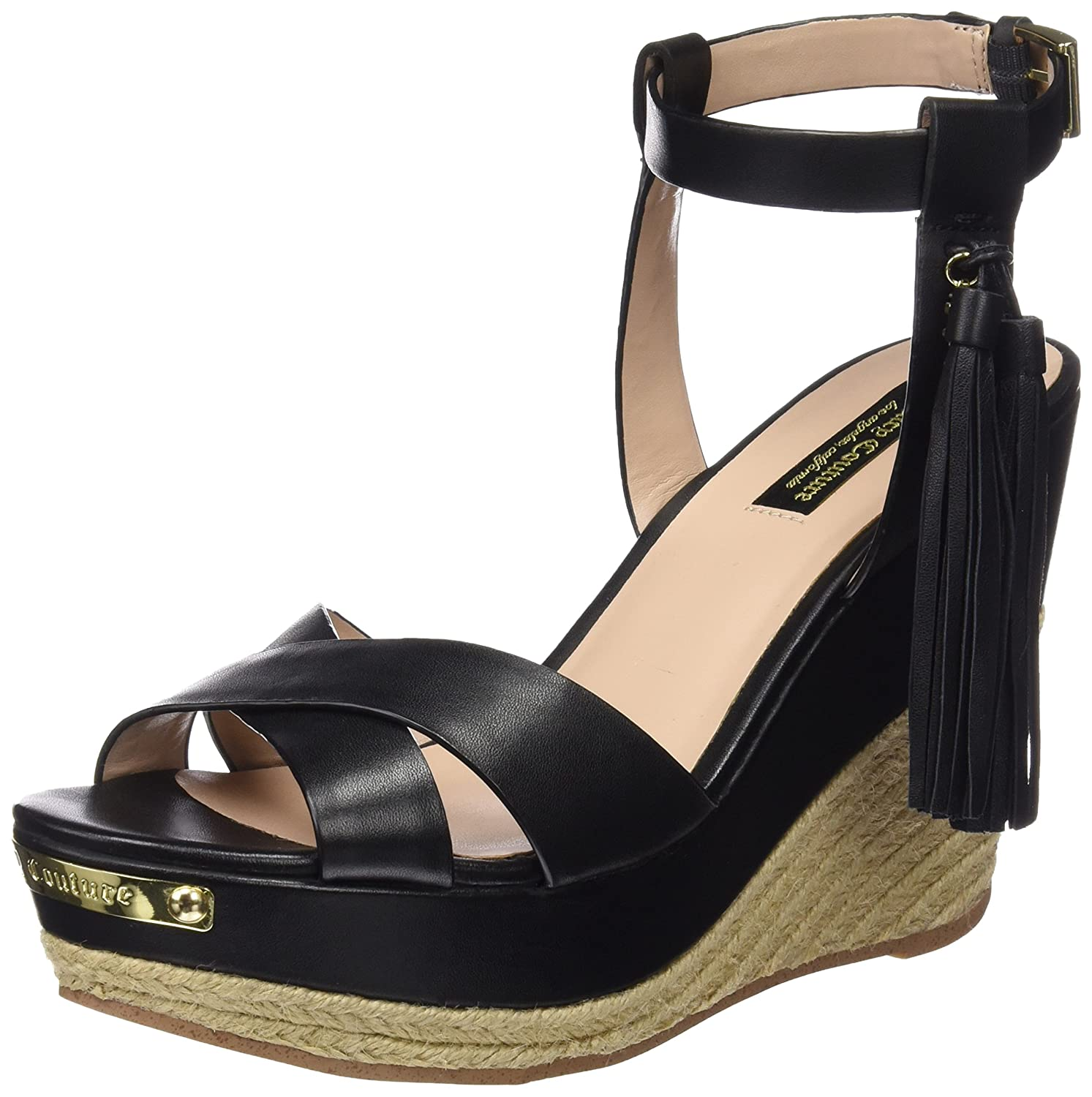 Juicy Couture Damen Simone Sandalen  38.5 EU|Pitch Black Leather