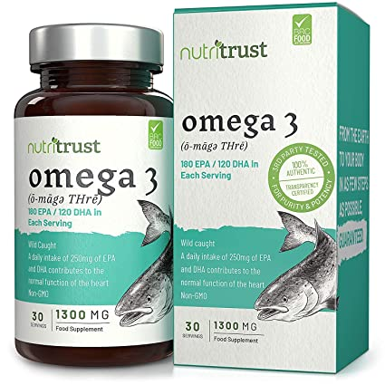 Cápsulas de gel Aceite de Pescado Omega 3 1300mg Nutritrust® - Reforzado con Vitamina E