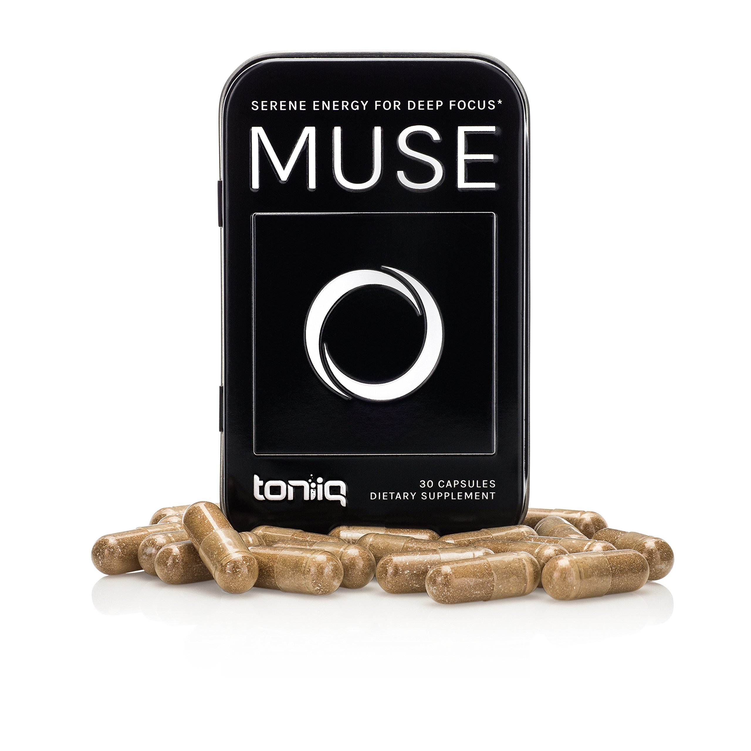Muse by Toniiq | Superior Focus & Energy Support Brain Booster Supplement Pills | Nootropic with Yerba Mate Caffeine, Ashwagandha, Rhodiola, Vitamin B12, Patented Citicoline | 30 Veggie Capsules