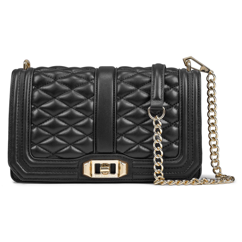 Women's Leather Messenger Bag Mini Chain Bag Adjustable Shoulder Strap Shoulder Bag (black)