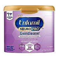 Enfamil NeuroPro Gentlease Baby Formula Gentle Milk Powder Reusable Tub, 19.5oz.- MFGM, Omega 3 DHA, Probiotics, Iron & Immune Support (Package May Vary)