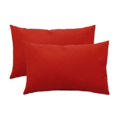 Set of 2 - Indoor/Outdoor Rectangle/Lumbar Decorative Throw/Toss Pillows - Solid Red: Home & Kitchen