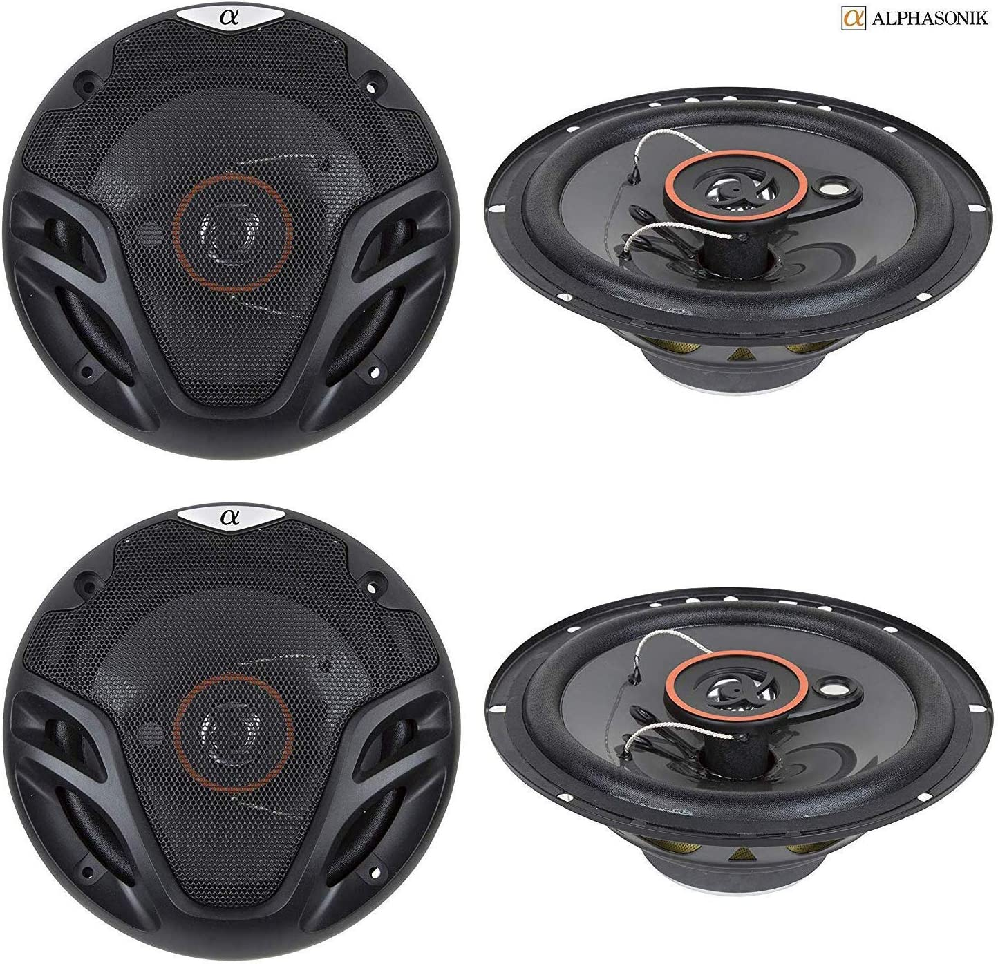 Alphasonik AS26 6.5 inch 350 Watts Max 3-Way Car Audio Full Range Coaxial Speakers with Universal Mounting Holes for Easy Installation and Grills Included 4 New 2 Pairs
