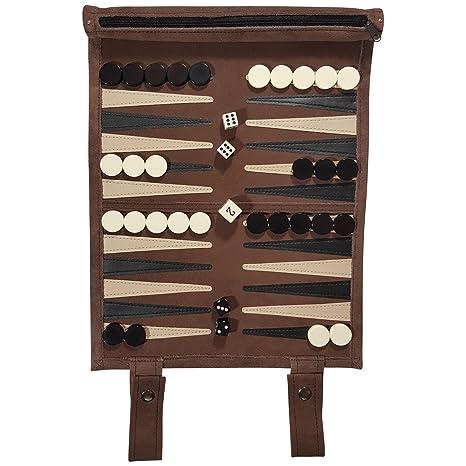 Natural escaneado Viaje Backgammon de Piel con Ruedas Incluye Dados, Piedras plástico Bolsa Guardar