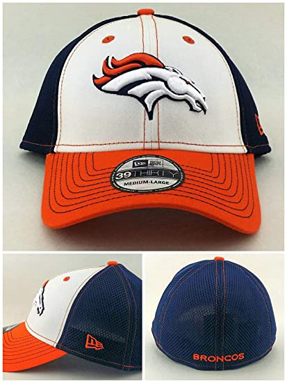 ab32ebe8b3e Image Unavailable. Image not available for. Color  New Era Denver Broncos  39Thirty Neo Blue White Orange Flex Fitted Hat Cap M L