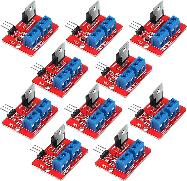Innovateking-EU 10 unids Superior IRF520 MOSFET Driver Módulo PWM Salida 0-24V 5A para Arduino MCU Arm Raspberry Pi