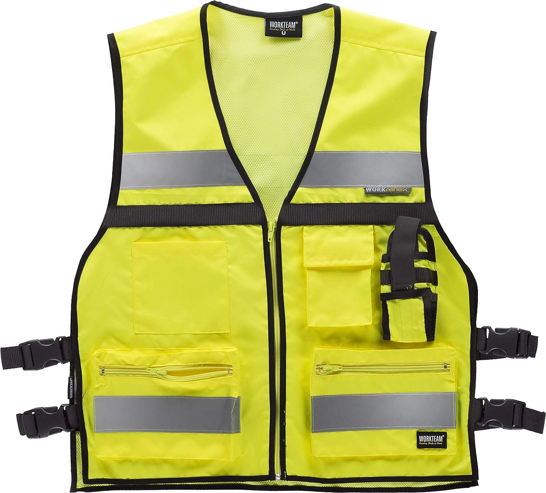 Work Team Chaleco de alta visibilidad con ajustes laterales, multibolsillos, dos cintas reflectantes. HOMBRE Amarillo A.V. UNICA: Amazon.es: Ropa y accesorios