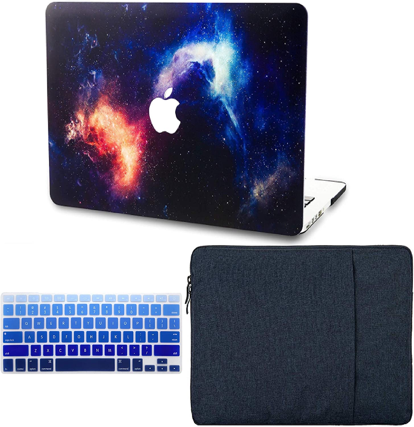 "KECC Laptop Case for MacBook Air 13"" Retina (2020, Touch ID) w/Keyboard Cover + Sleeve Plastic Hard Shell Case A2179 3 in 1 Bundle (Nebula)"