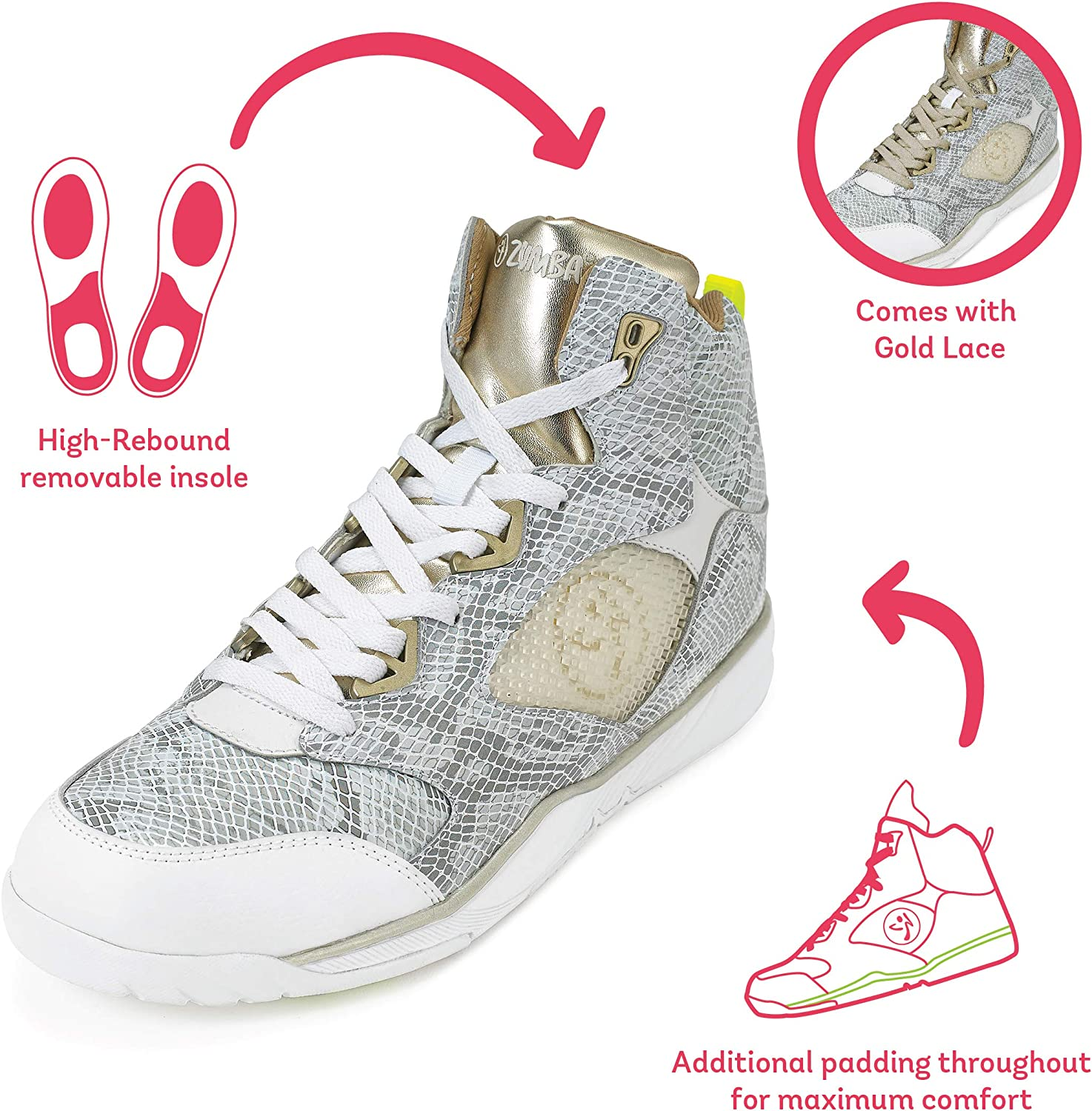 Zumba Energy Boom High Top Athletic Shoes Dance Training Workout Women Shoes White Gold I2pYj4
