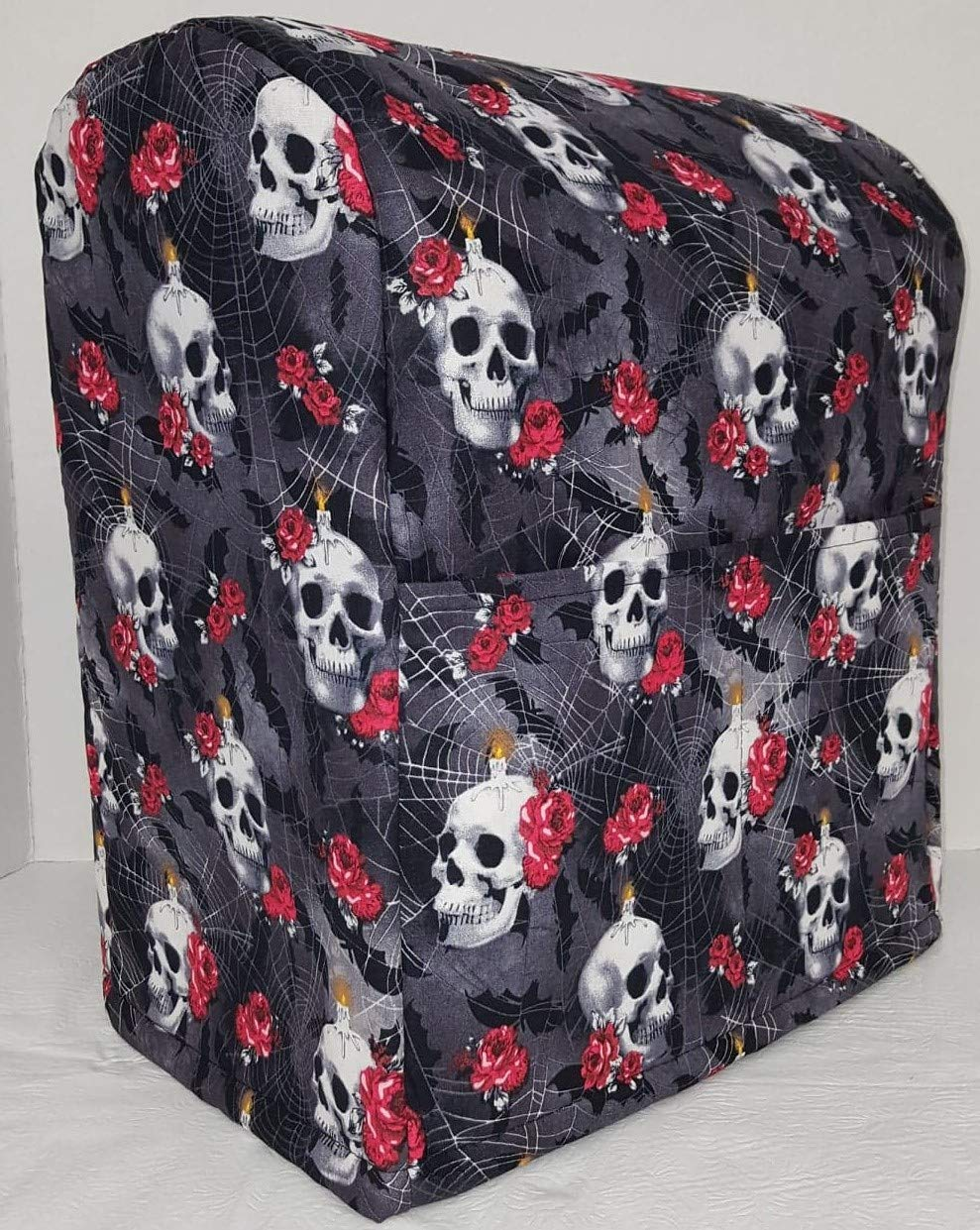 Penny's Needful Things Skulls Webs & Roses Cover Compatible for Kitchenaid Stand Mixer (All Skulls Webs & Roses, 4.5,5,6qt Lift Bowl)
