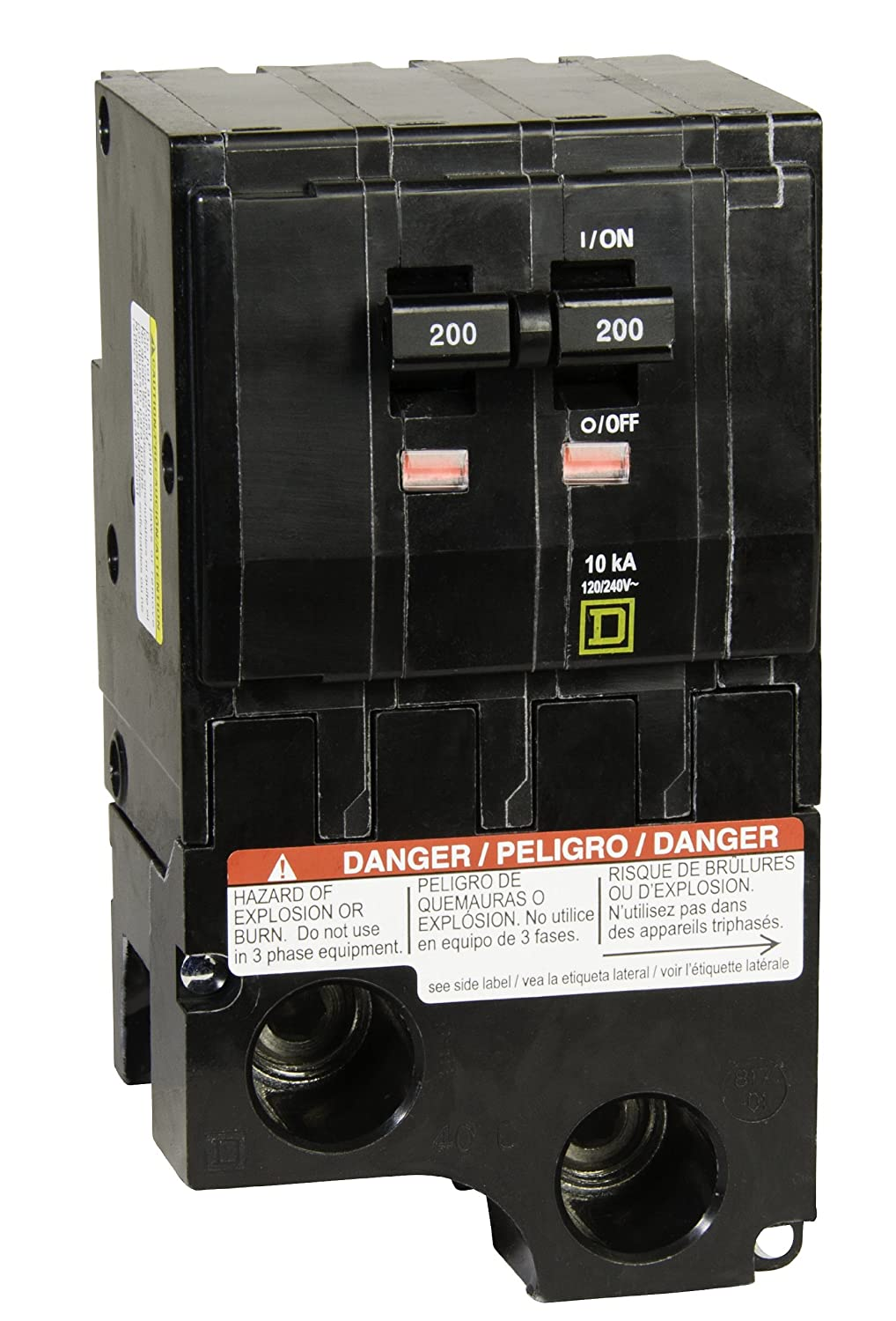 Square D By Schneider Electric Qo2200cp Qo 200 Amp Two Pole Circuit 3 Phase Fuse Box Breaker