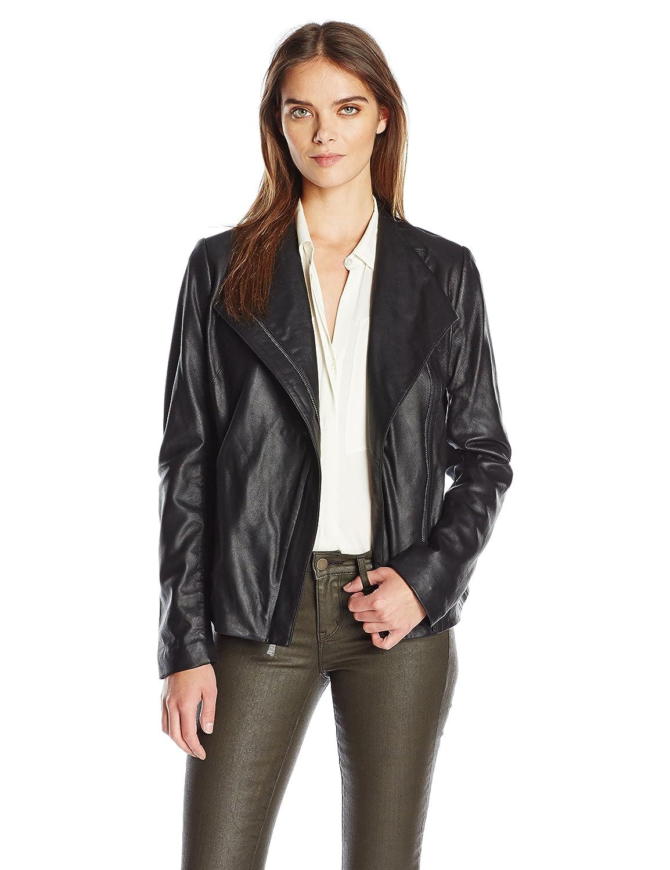 T Tahari Women's Kelly Asymmetrical Fitted Peplum Leather Jacket J6229260