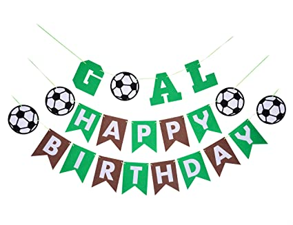 a919ec26901 Back to School Soccer Theme Party Supplies Kit-1 Happy Birthday  Banner(Green and
