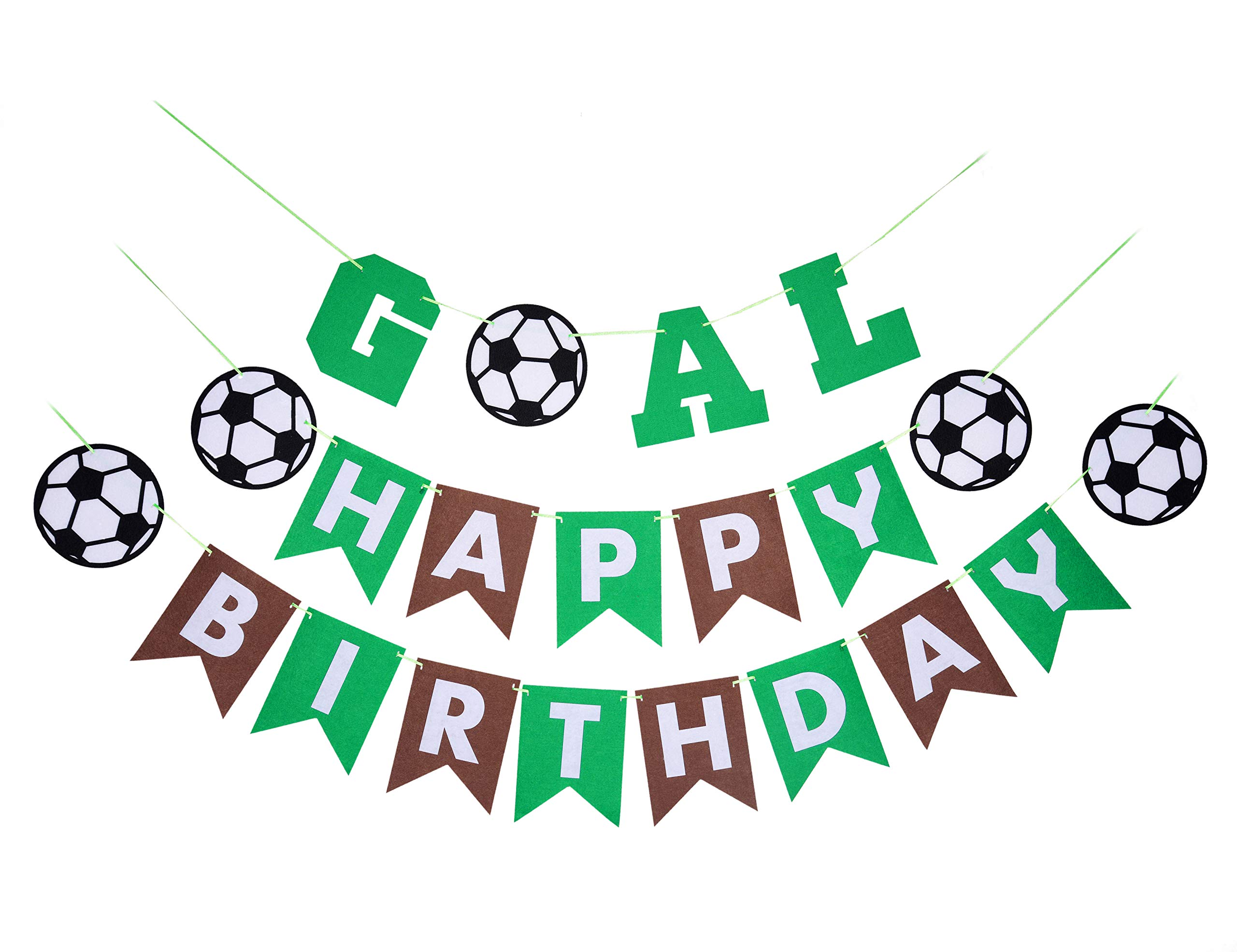 Back to School Soccer Theme Party Supplies Kit-1 Happy Birthday Banner(Green and Coffee) and 1 GOAL banner-Decorations and Favors for Kids Boys Girls Sports Party Wall Decor