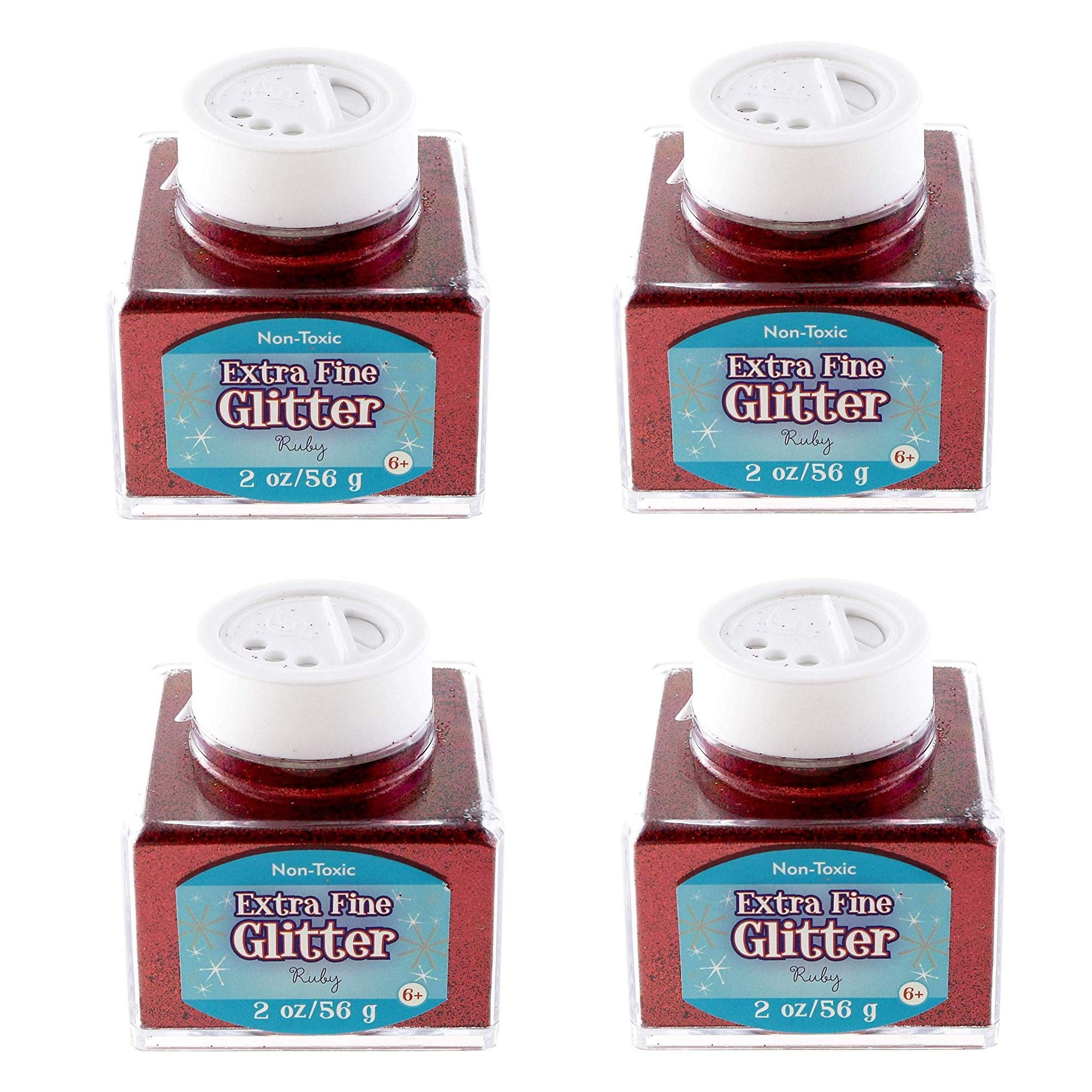 Sulyn 2oz. Glitter Stacker Jar- Ruby, 4 Pack