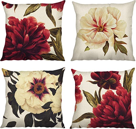 Contrast Flower Throw Pillow Protector Case Cushion Cover Sofa Bed Ornament