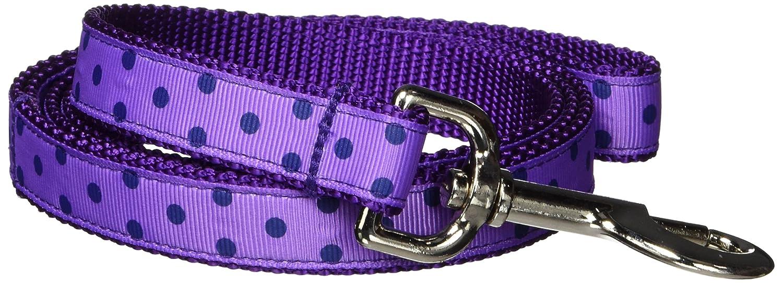 Medium Sassy Dog Wear 6-Feet Orchid//Navy Polka Dot Dog Leash